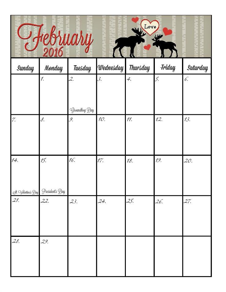 February 2016 Calendar | The Bearfoot Baker