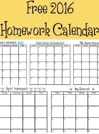 Free 2016 Homework Calendar | The Bearfoot Baker