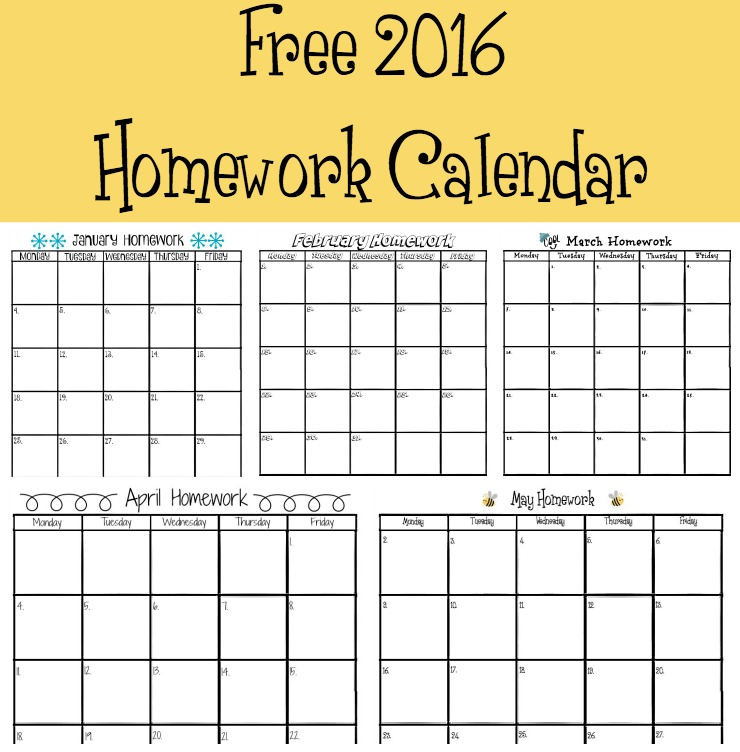 Free 2016 Homework Calendar | The Bearfoot Baker