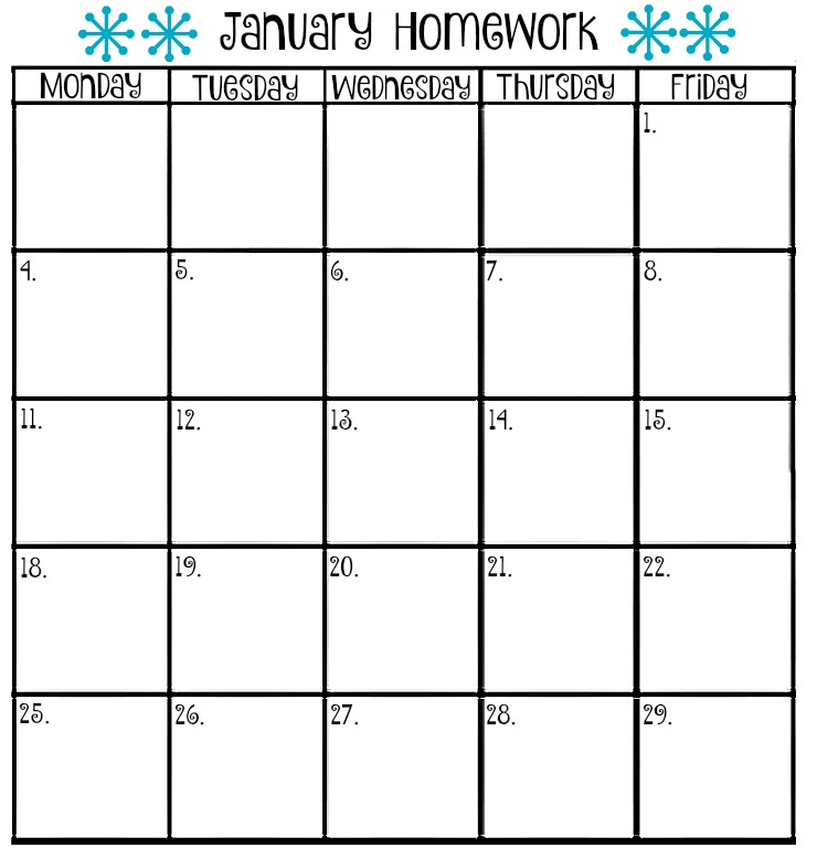 January Homework Calendar | The Bearfoot Baker