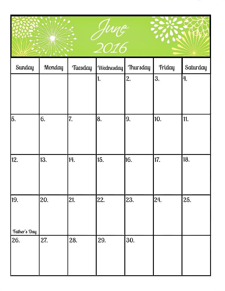 June's Free 2016 Calendar | The Bearfoot Baker