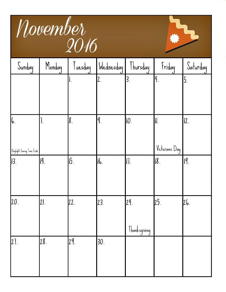 November's Free 2016 Calendar | The Bearfoot Baker