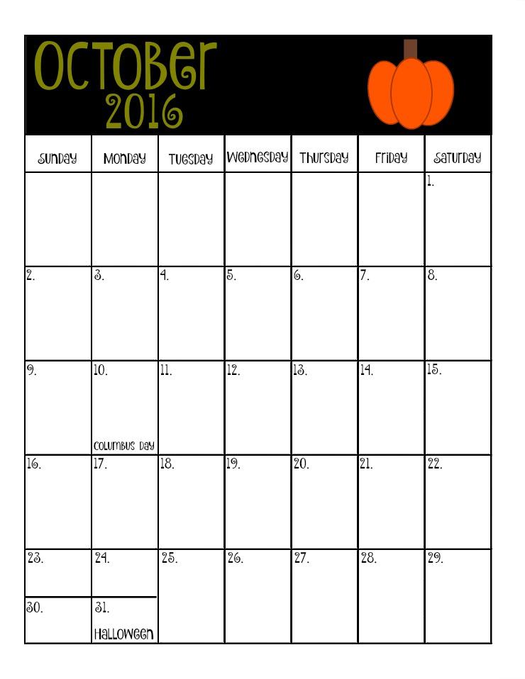 October's Free 2016 Calendar | The Bearfoot Baker