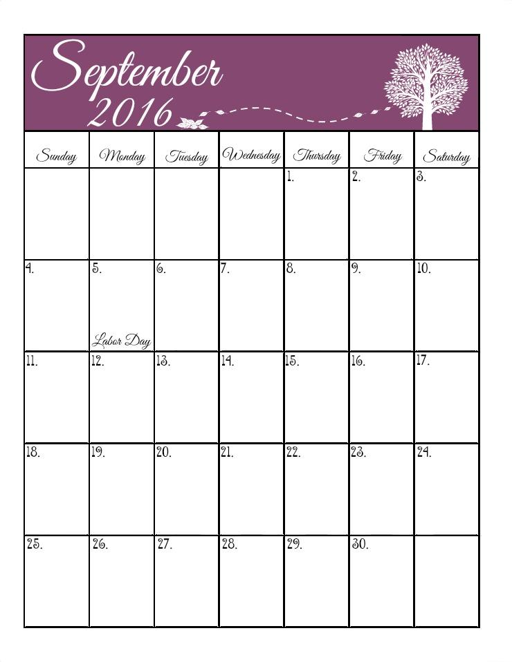 September's Free 2016 Calendar | The Bearfoot Baker