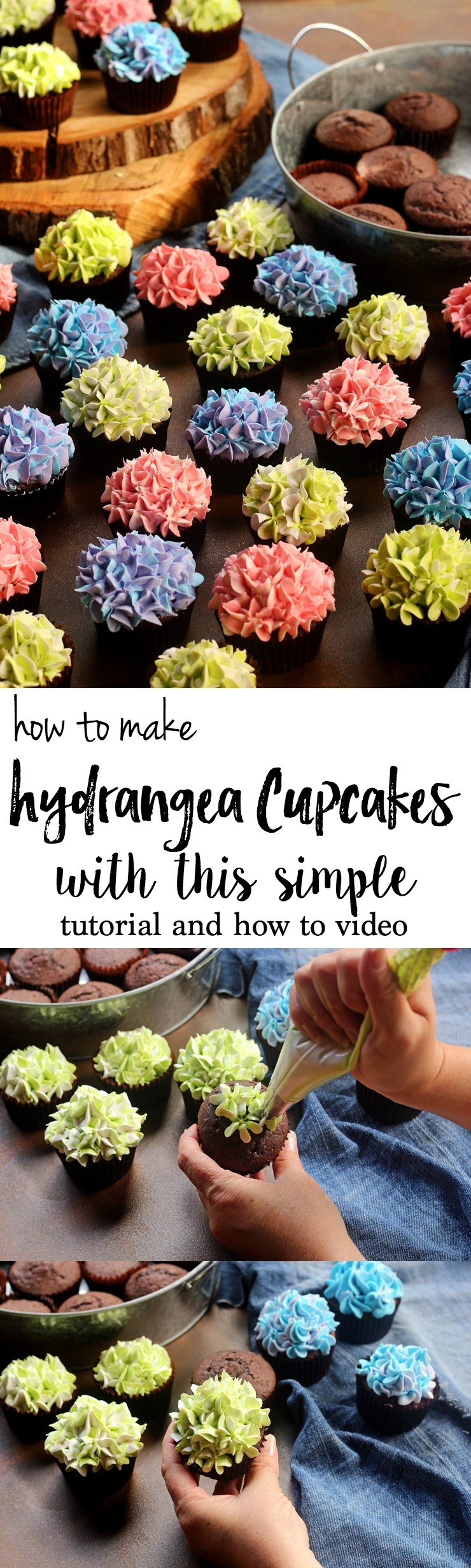 How to Make Hydrangea Cupcakes with this Simple Tutorial and and How to Video | The Bearfoot Baker