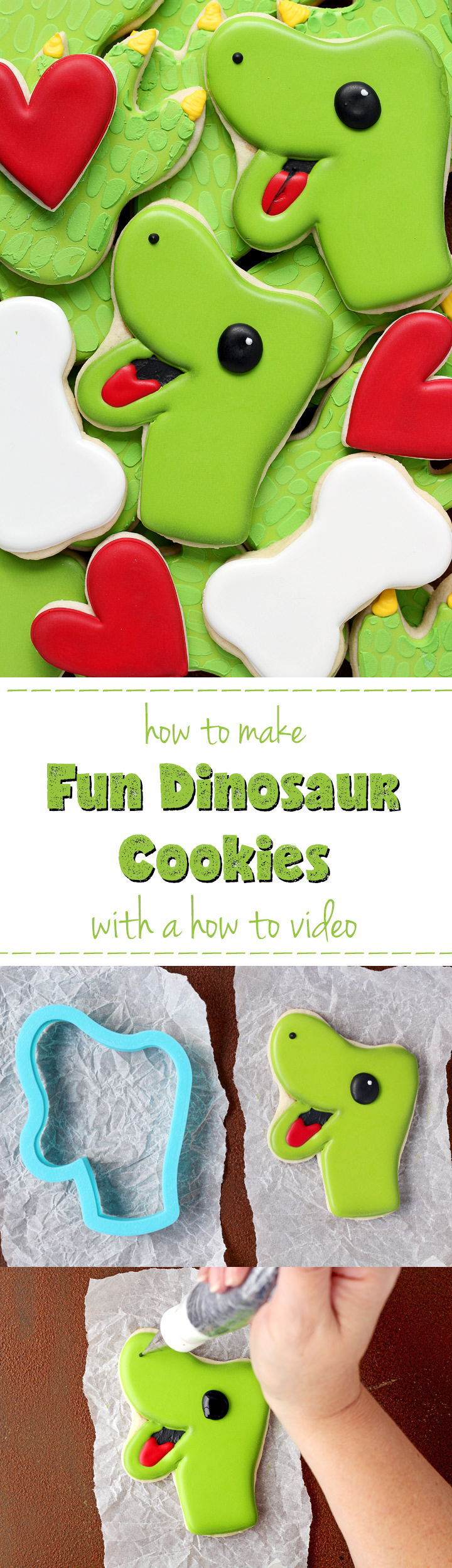 How to Make Fun Dinosaur Cookies with a Video | The Bearfoot Baker