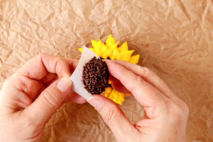 Sunflower Cupcake with a How to Video | The Bearfoot Baker