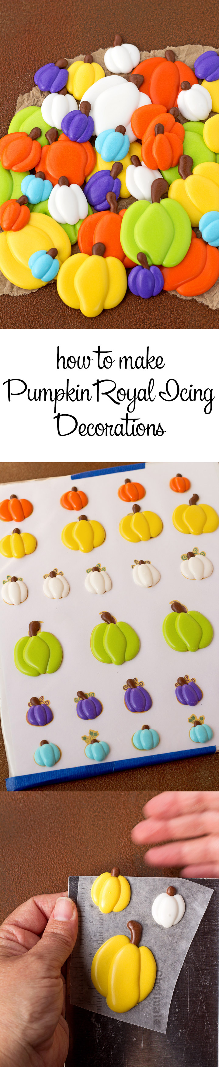 How to Make Simple Little Pumpkin Royal Icing Decorations with a How to Video | The Bearfoot Baker