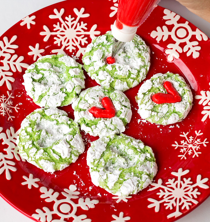 Simple Grinch Cookies with Cream Cheese Frosting | The Bearfoot Baker