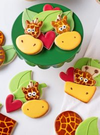 How to Make Cute Giraffe Cookies with a Jellyfish Cookie Cutter and a Cake Cookie Cutter | The Bearfoot Baker