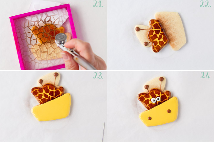 How to Make Happy Little Giraffe Cookies with a Video | The Bearfoot Baker