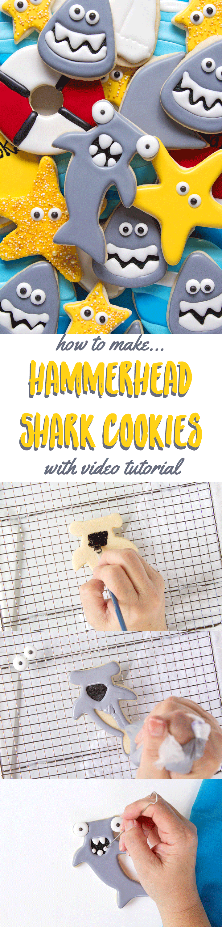 How to Make Hammerhead Shark Cookies with a How to Video | The Bearfoot Baker