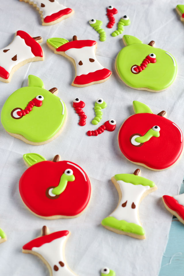 Cute Apple with Worm Cookies Perfect Fall Cookies | The Bearfoot Baker