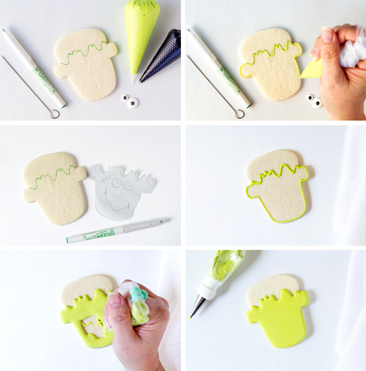 Cute Frankenstein Cookies Don't Have to Be Scary Tutorial with Video | The Bearfoot Baker