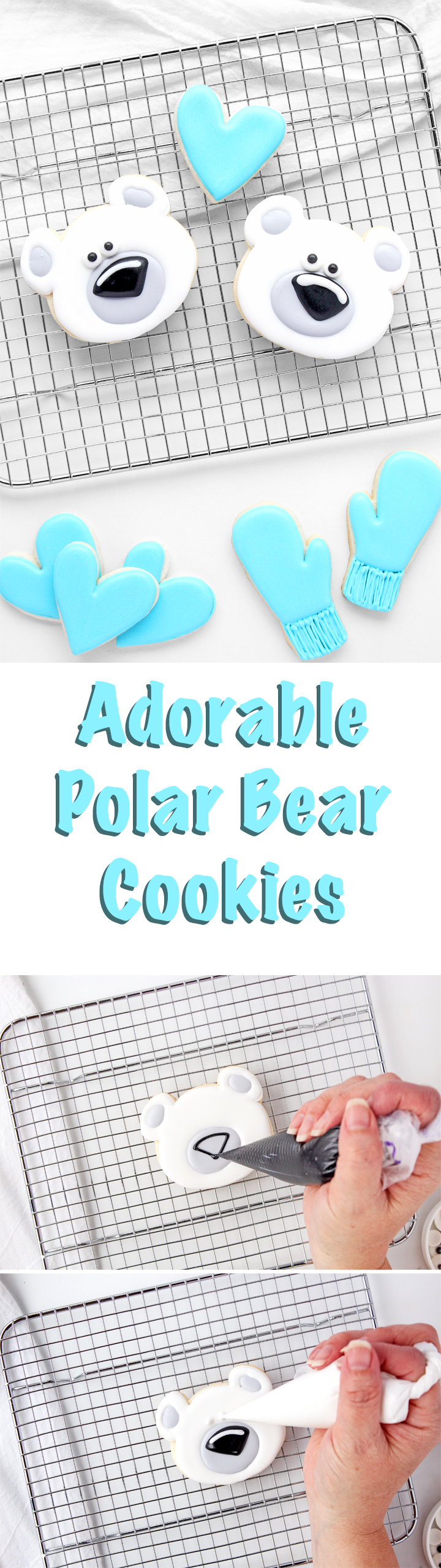 How to Make Adorable Polar Bear Cookies Decorated with Royal Icing | The Bearfoot Baker