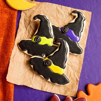 How To Make Happy Witch Hat Cookies For Halloween | The Bearfoot Baker