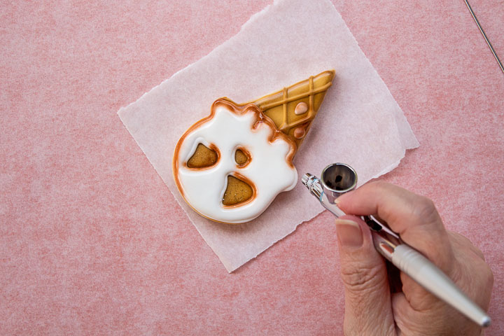 Spooky Airbrushed Ice Cream Cookies | The Bearfoot Baker