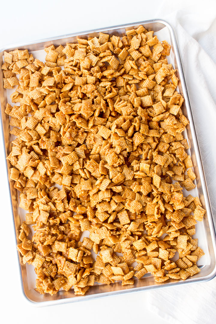 Yummy Caramel Chex Mix Recipe | The Bearfoot Baker