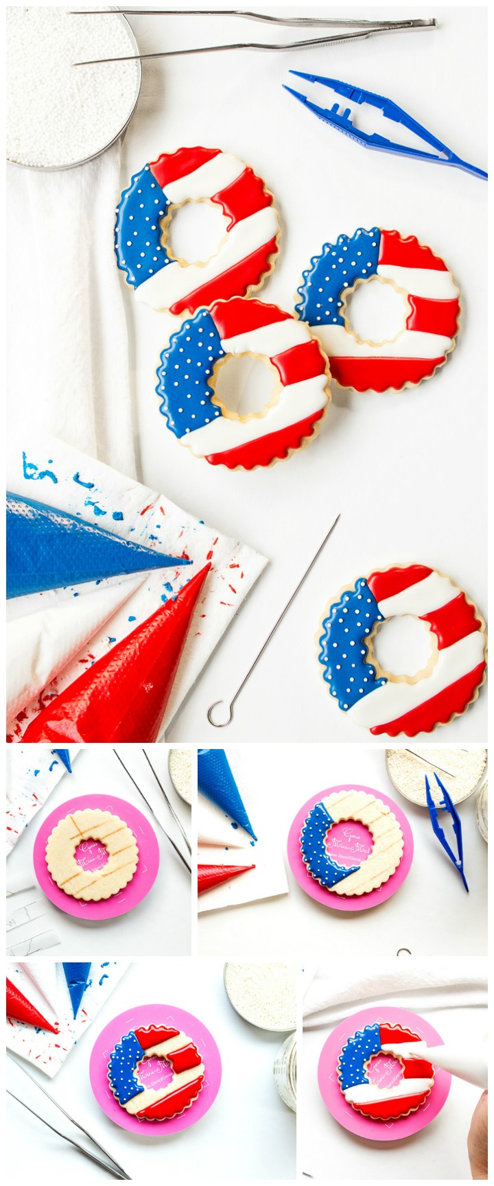 How to Make Fun Simple Patriotic Wreath Cookies with Video | The Bearfoot Baker