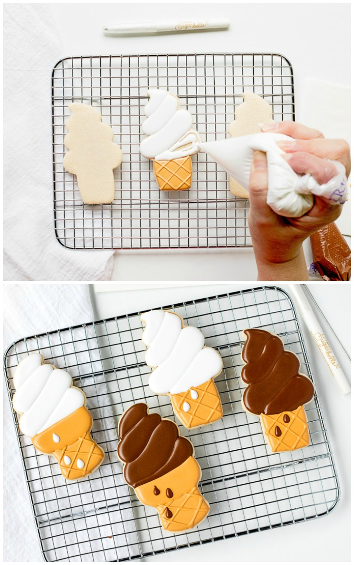 How to Make Super Cute Ice Cream Cone Cookies | The Bearfoot Baker