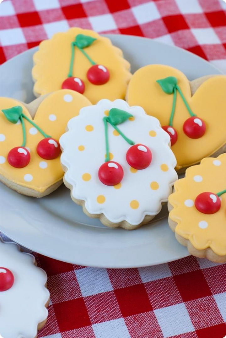 bowl of cheery cookies from bake at 350