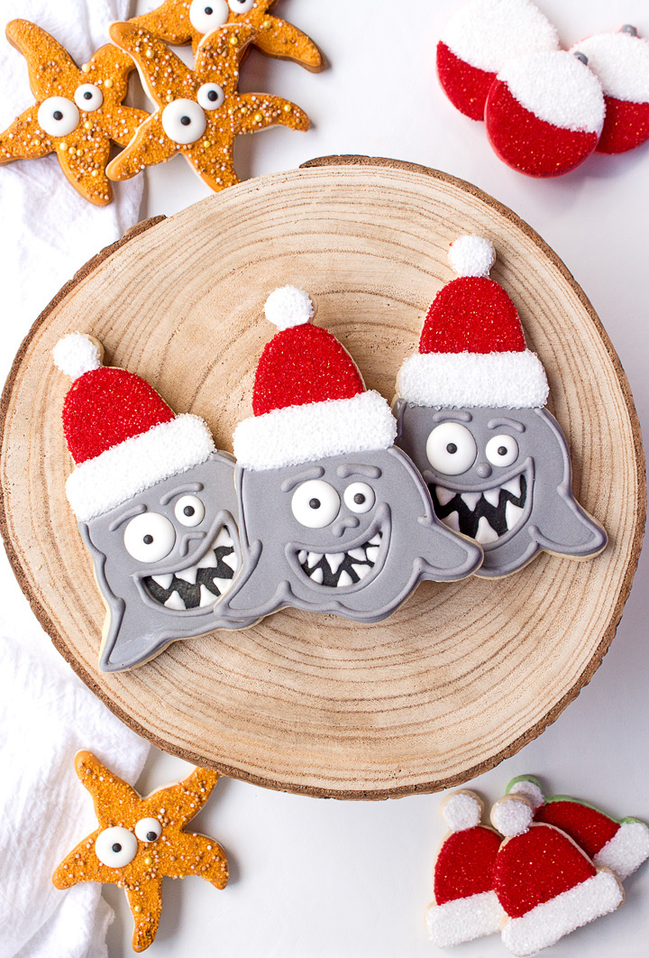Santa Shark Cookies | The Bearfoot Baker