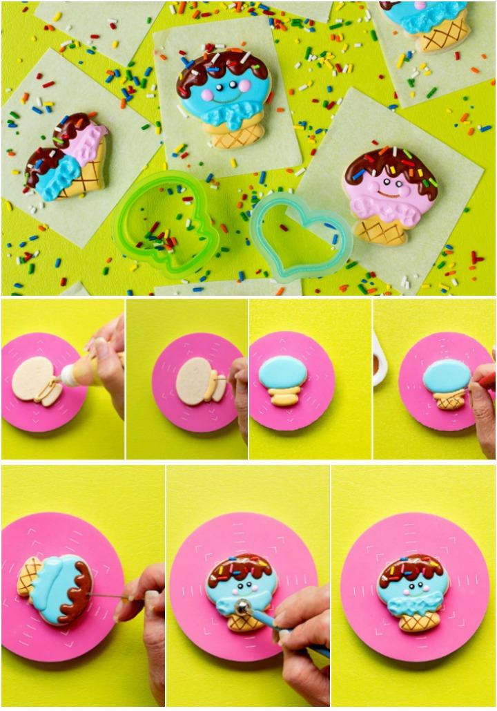 How to Make Cute Little Happy Mini Ice Cream Cone Cookies | The Bearfoot Baker