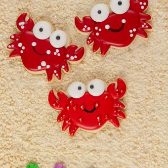 simple crab sugar cookies decorated with royal icing