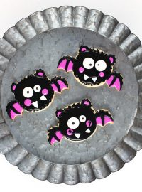 bat sugar cookies decorated with royal icing