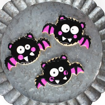 bat sugar cookies decorated with royal icing