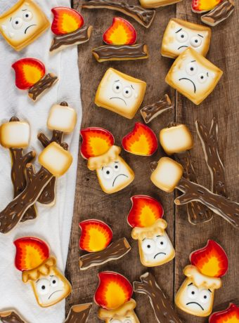 marshmallow sugar cookies decorated with royal icing