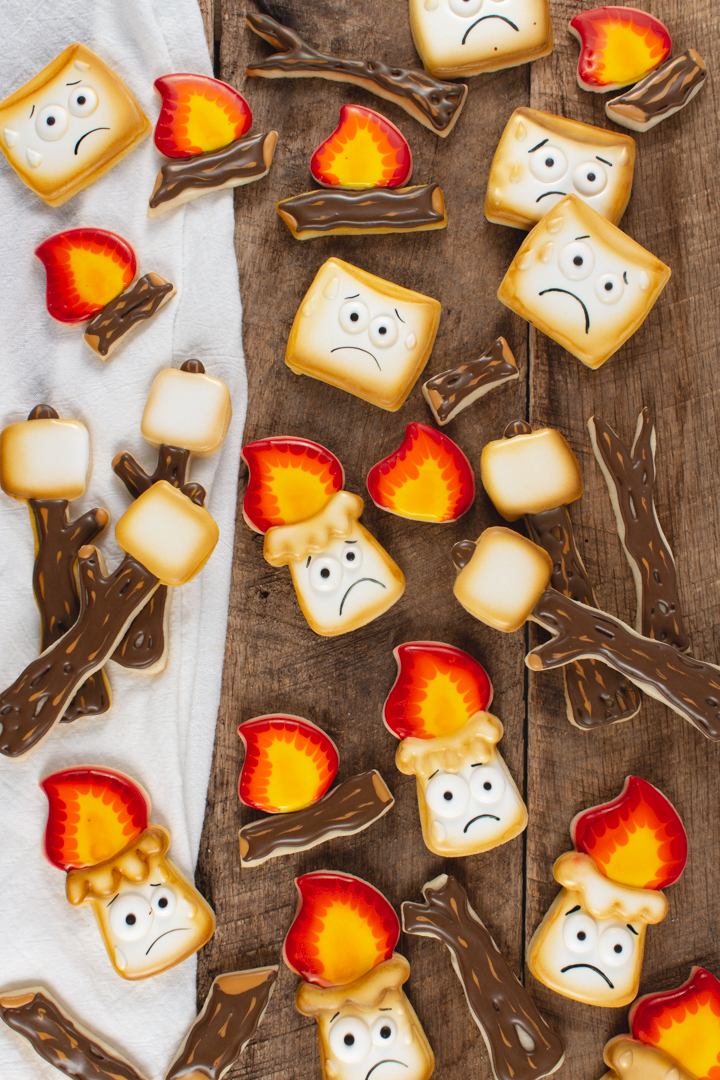 decorated marshmallow sugar cookies, marshmallow cookies, campfire marshmallow cookies