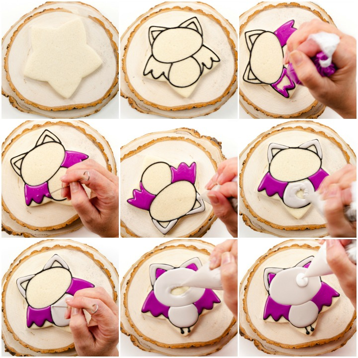 decorated bat sugar cookies with royal icing