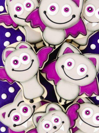 decorated bat sugar cookies