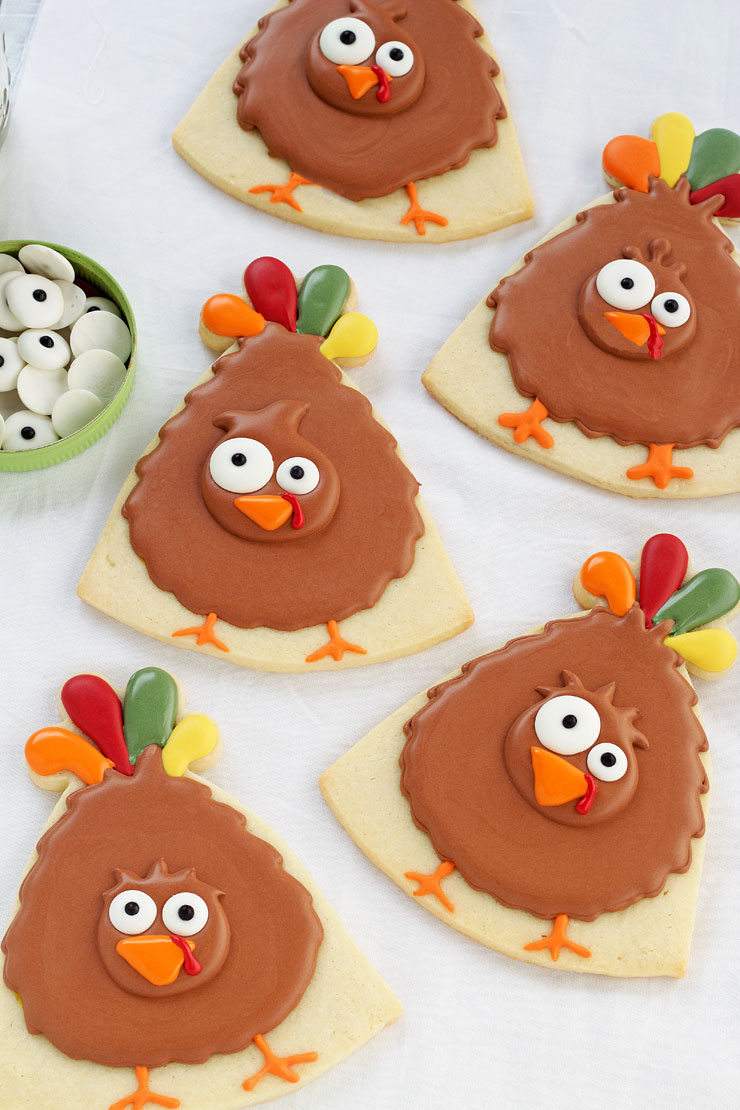 turkey cookie, birthday hat, hat, turkey, cookie decorating, sugar cookie, royal icing, Thanksgiving