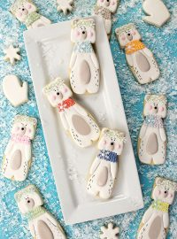 polar bear cookies, sugar cookies, royal icing