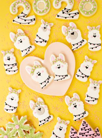New Year's Cookies, llama cookies, sugar cookies, decorated sugar cookies, cookie decorating, royal icing