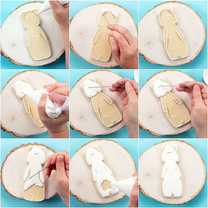 polar bear cookies, sugar cookies, royal icing