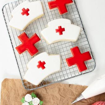 nurse hat cookies, sugar cookies, royal icing, sugar cookie tutorial, the bearfoot baker, medical cookies