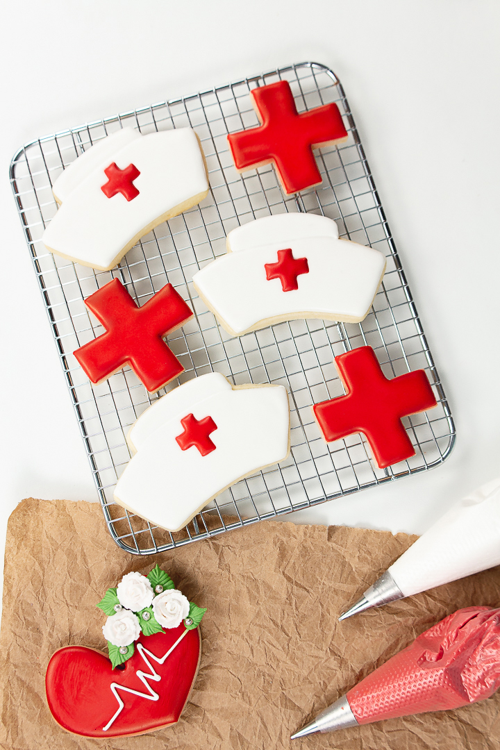 nurse hat cookies, sugar cookies, royal icing, sugar cookie tutorial, the bearfoot baker