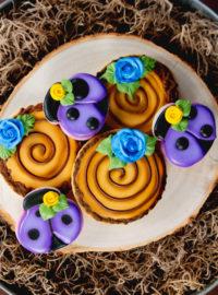 log cookies, woodland log, sugar cookies, decorated sugar cookies, cookie decorating, royal icing, rustic cookies, The Bearfoot Baker, ladybug cookies