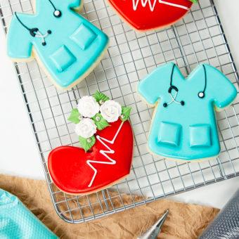 sugar cookies, decorated sugar cookies, cookie decorating, nurse, nurse cookies, royal icing,