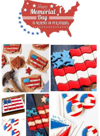 Memorial Day Cookies, sugar cookies, royal icing, the bearfoot baker, flag cookies, USA, American flag