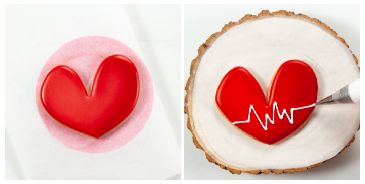 heart sugar cookies, sugar cookies, cookie decorating, decorated cookies, royal icing, thank you cookies