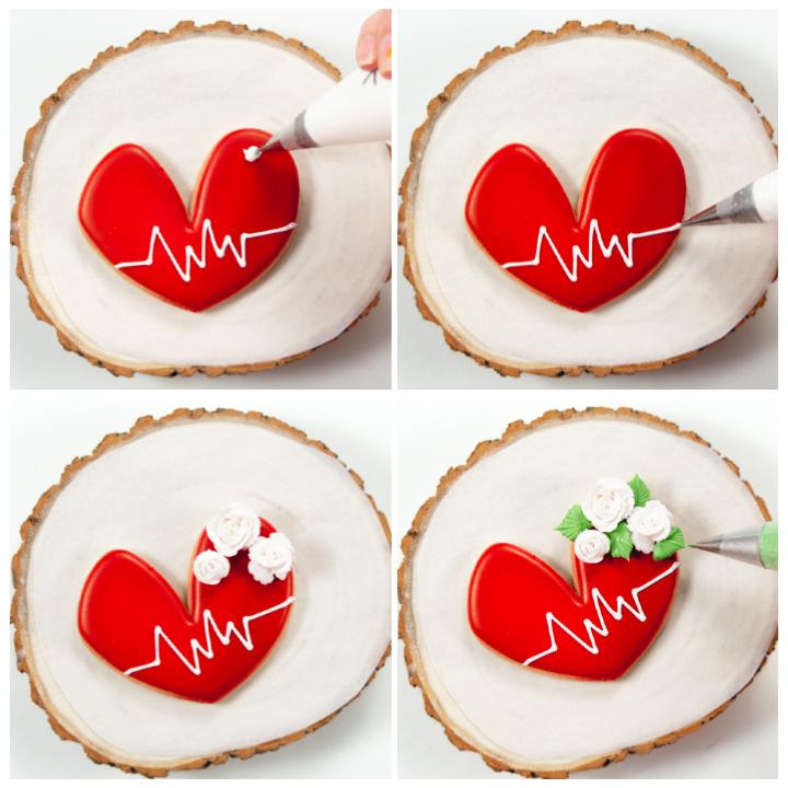 heart sugar cookies, sugar cookies, cookie decorating, decorated cookies, royal icing, thank you cookies