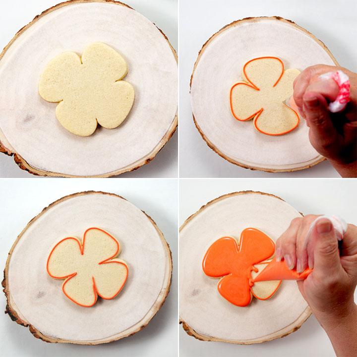 sugar cookies, royal icing, flower cookies, spring cookies, The Bearfoot Baker, royal icing transfers