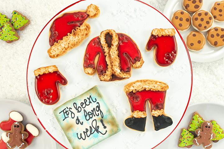 Christmas Cookies, Santa suit, Christmas in July cookies, sugar cookies, royal icing, Santa suit