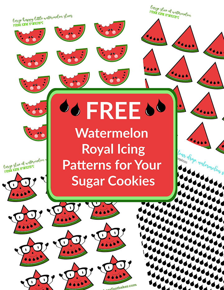 free watermelon patterns, watermelon template, royal icing transfers, watermelon, the bearfoot baker, royal icing, sugar cookies