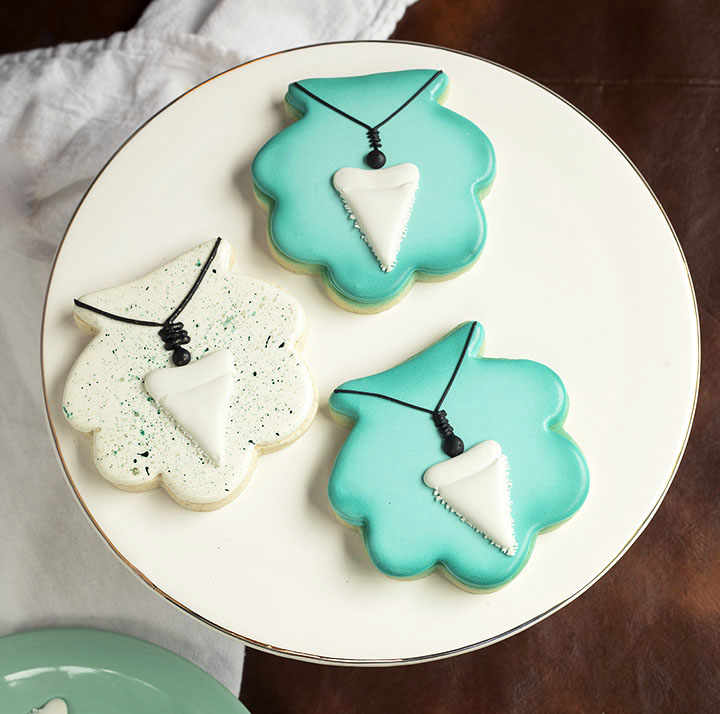 shark tooth, cookie decorations, royal icing transfers, layons, The Bearfoot Baker