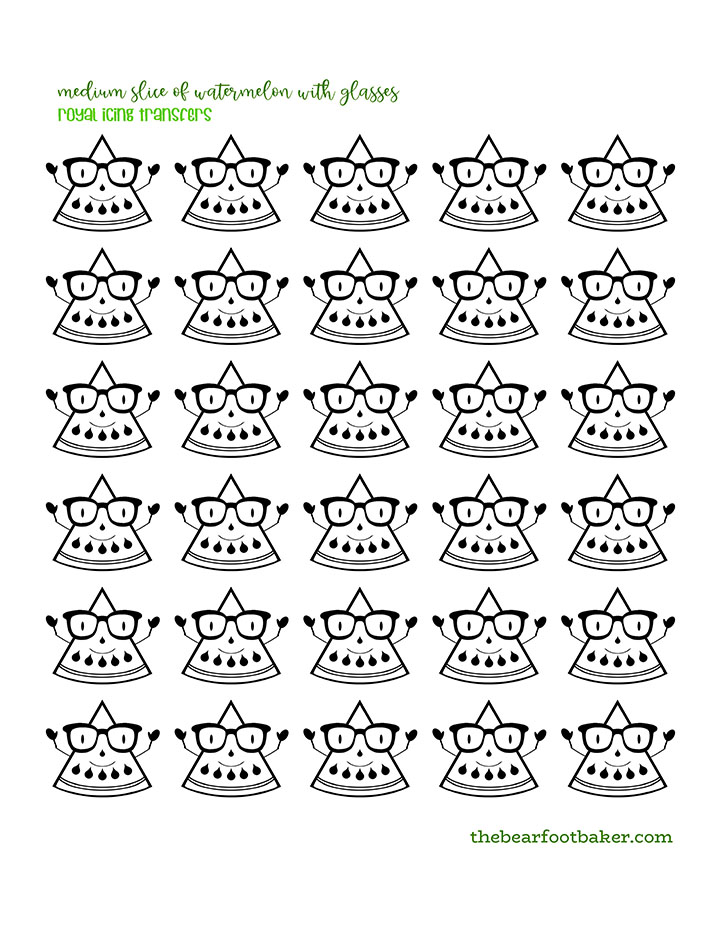 Free Watermelon Patterns, FREE Royal Icing Transfer, The Bearfoot Baker, Royal Icing Template
